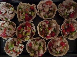 Ceviche servings in tortilla bowls