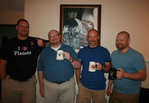 Four lads with Game of Thrones mugs