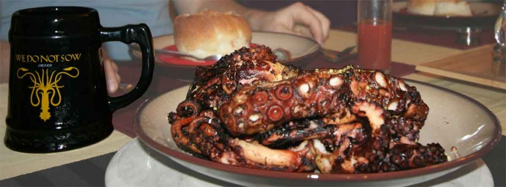 Grilled octopus, with the Greyjoy Kraken mug