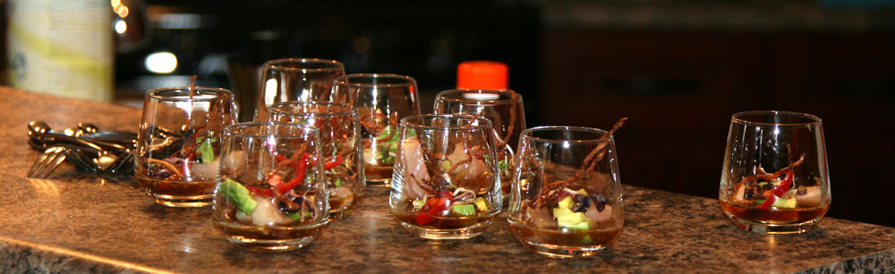 Hamachi shooters on the counter
