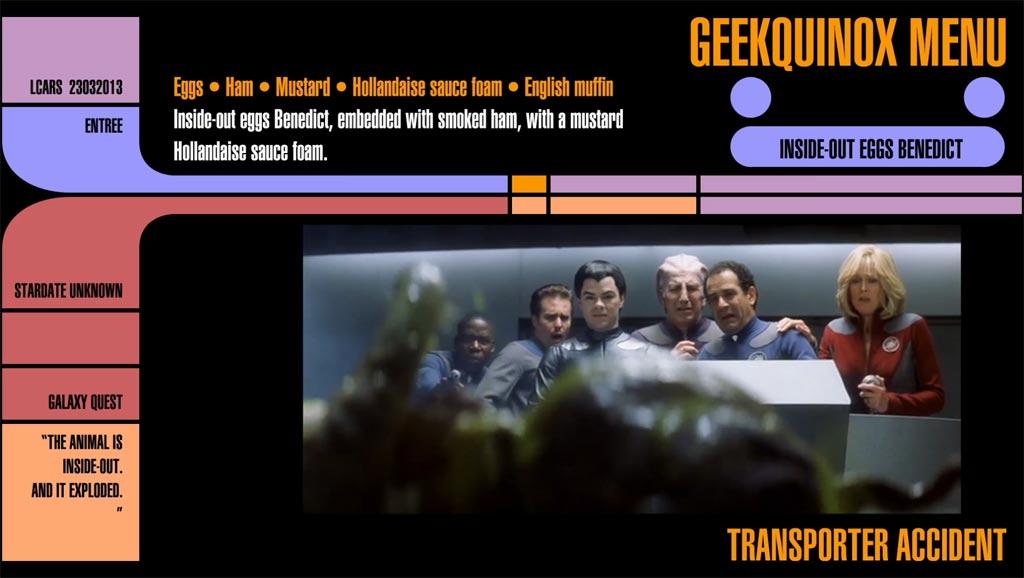 "Menu Item #4 ""Transporter Accident"", or Inside-Out Eggs Benedict"
